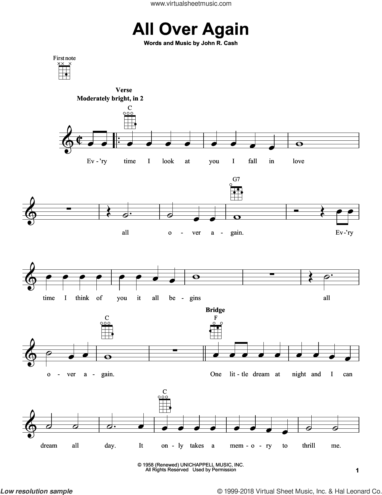 All Over Again sheet music for ukulele by Johnny Cash. Score Image Preview.