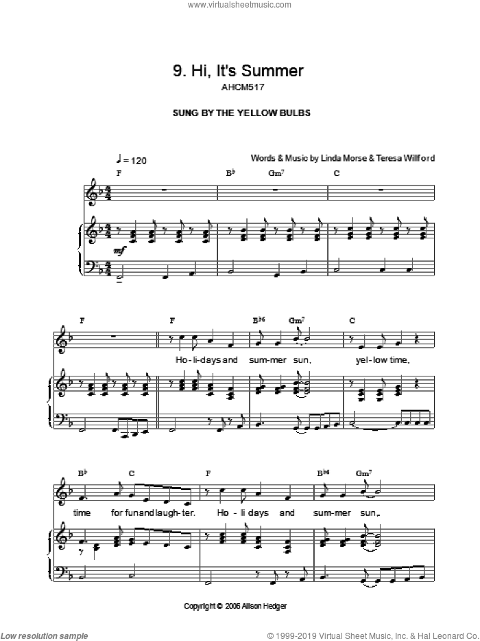 Hi, It's Summer (from Mister Lillibub's Lovely Light Bulbs) sheet music for voice, piano or guitar by Alison Hedger, intermediate voice, piano or guitar. Score Image Preview.