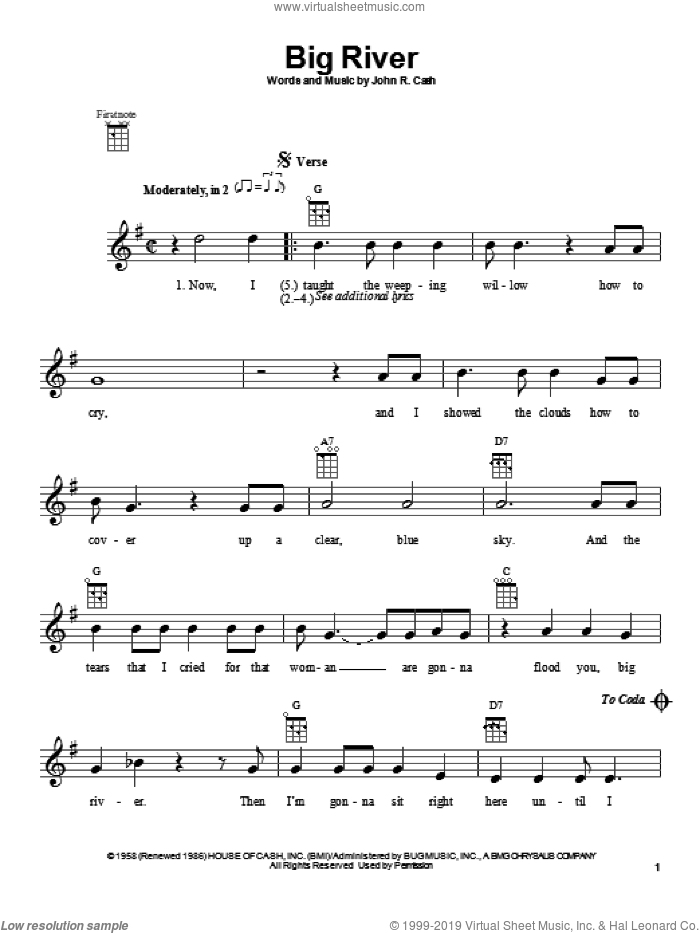 Big River sheet music for ukulele by Johnny Cash. Score Image Preview.