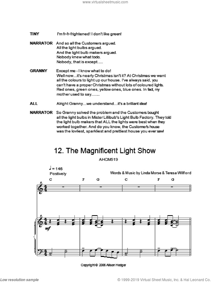 The Magnificent Light Show (from Mister Lillibub's Lovely Light Bulbs) sheet music for voice, piano or guitar by Alison Hedger, intermediate. Score Image Preview.