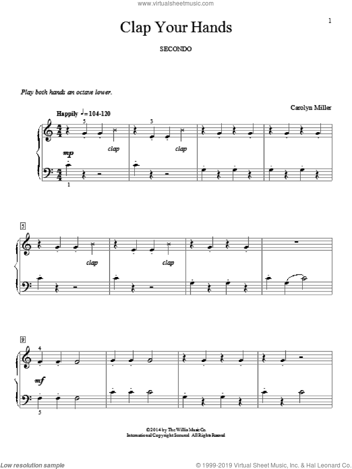Clap Your Hands sheet music for piano four hands by Carolyn Miller, classical score, intermediate