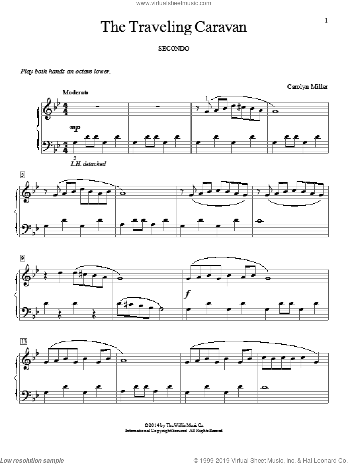 The Traveling Caravan sheet music for piano four hands (duets) by Carolyn Miller. Score Image Preview.