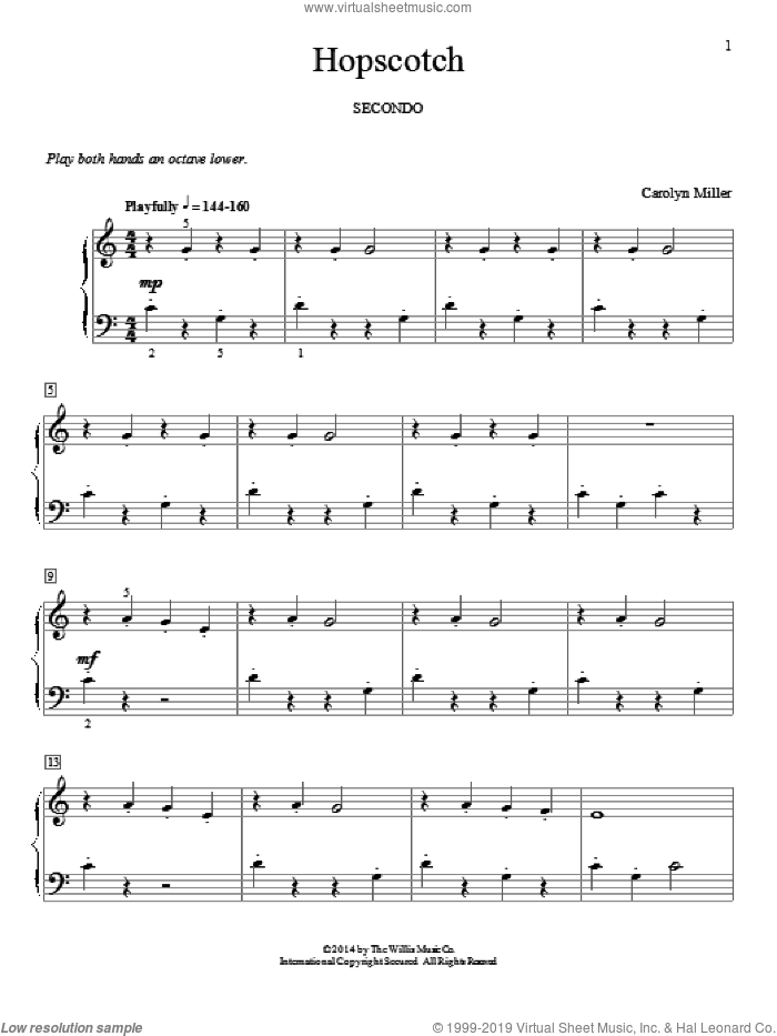 Hopscotch sheet music for piano four hands by Carolyn Miller, classical score, intermediate skill level