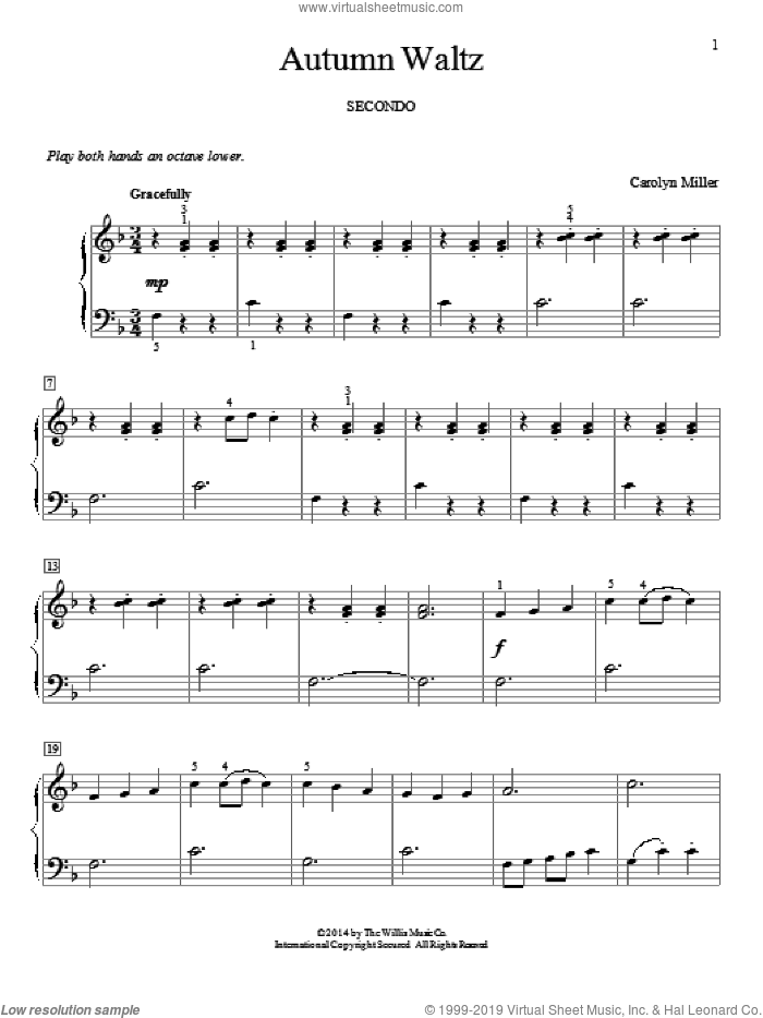 Autumn Waltz sheet music for piano four hands (duets) by Carolyn Miller. Score Image Preview.