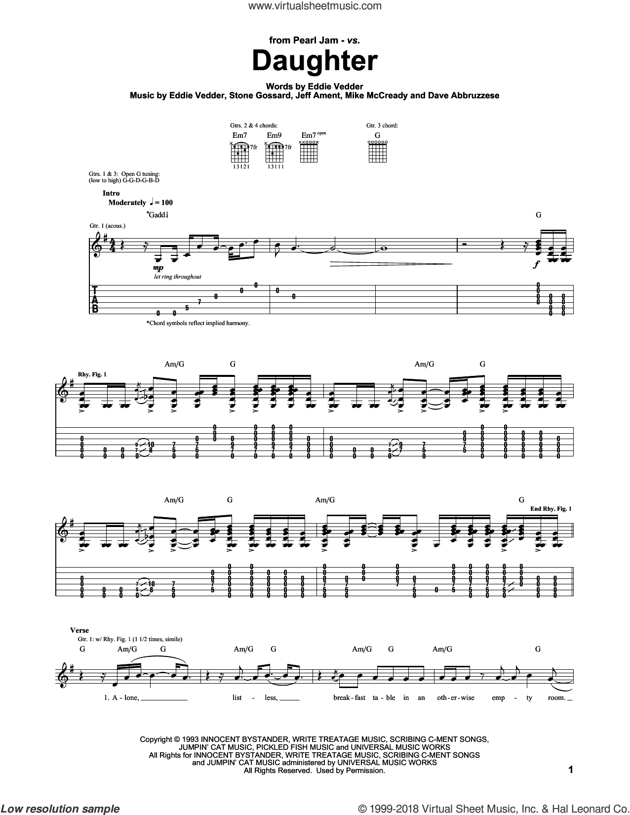 Daughter sheet music for guitar (tablature) by Stone Gossard, Pearl Jam, Eddie Vedder, Jeffrey Ament and Michael McCready. Score Image Preview.