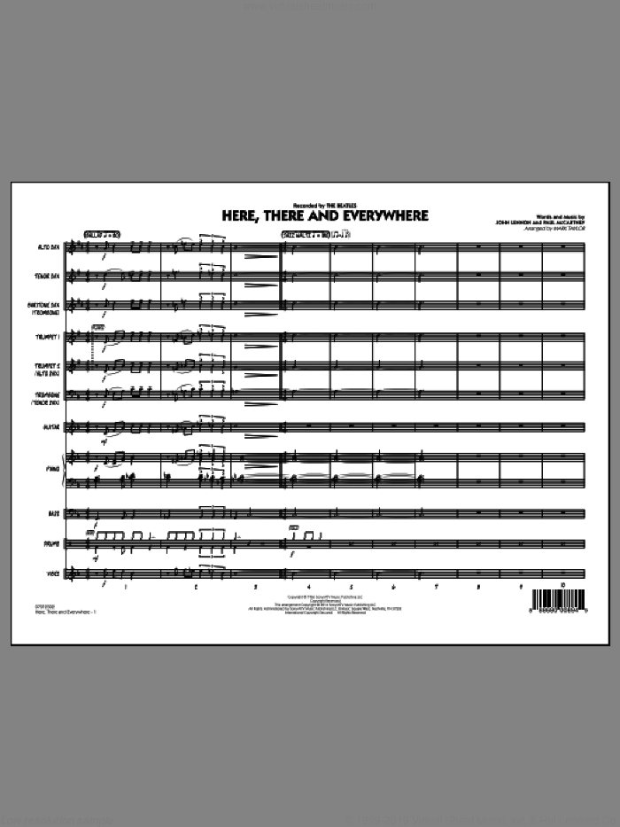 Here, There and Everywhere (COMPLETE) sheet music for jazz band by The Beatles, John Lennon, Mark Taylor and Paul McCartney, intermediate skill level