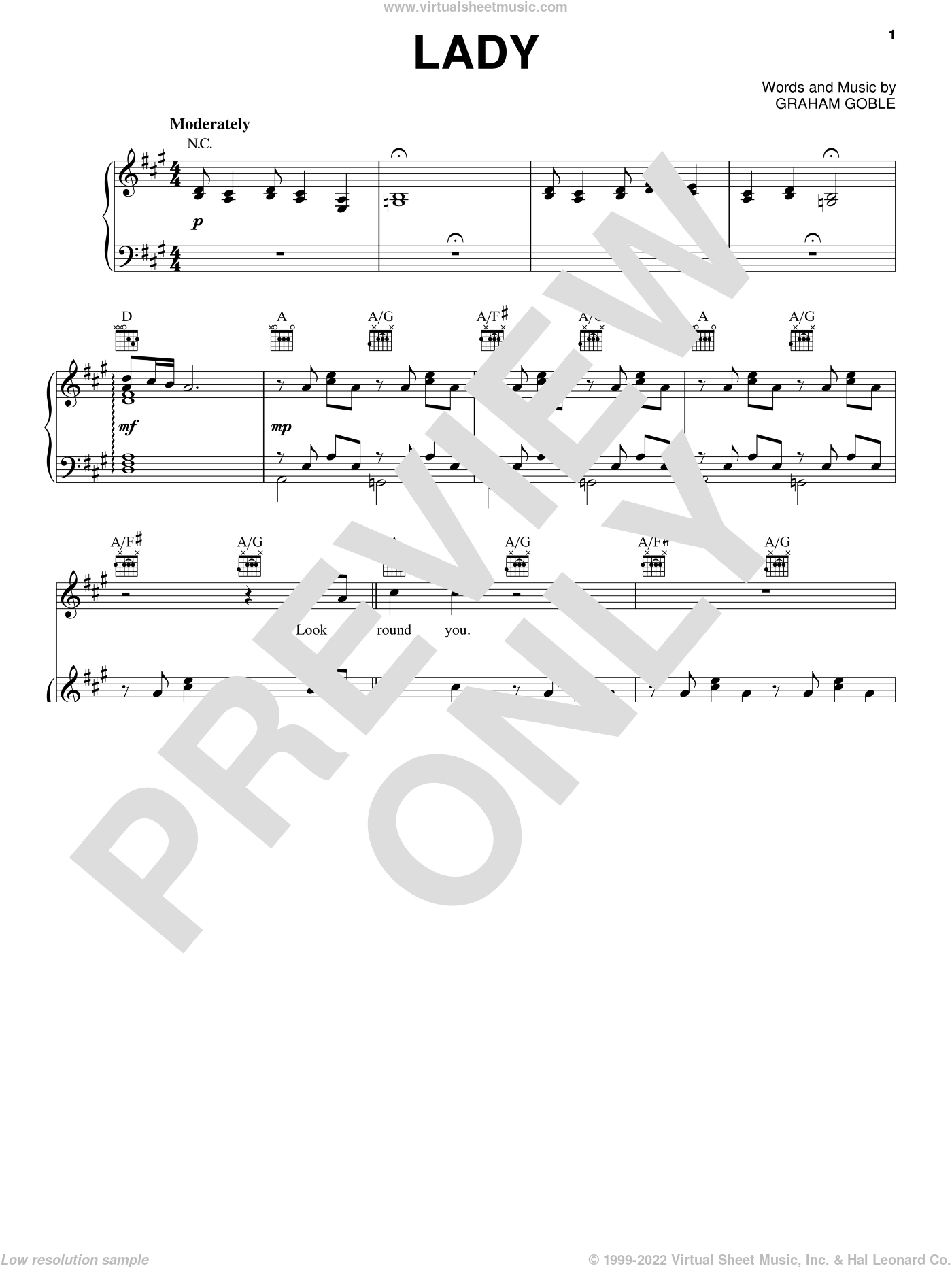 Lady sheet music for voice, piano or guitar by Little River Band and Graham Goble, intermediate skill level