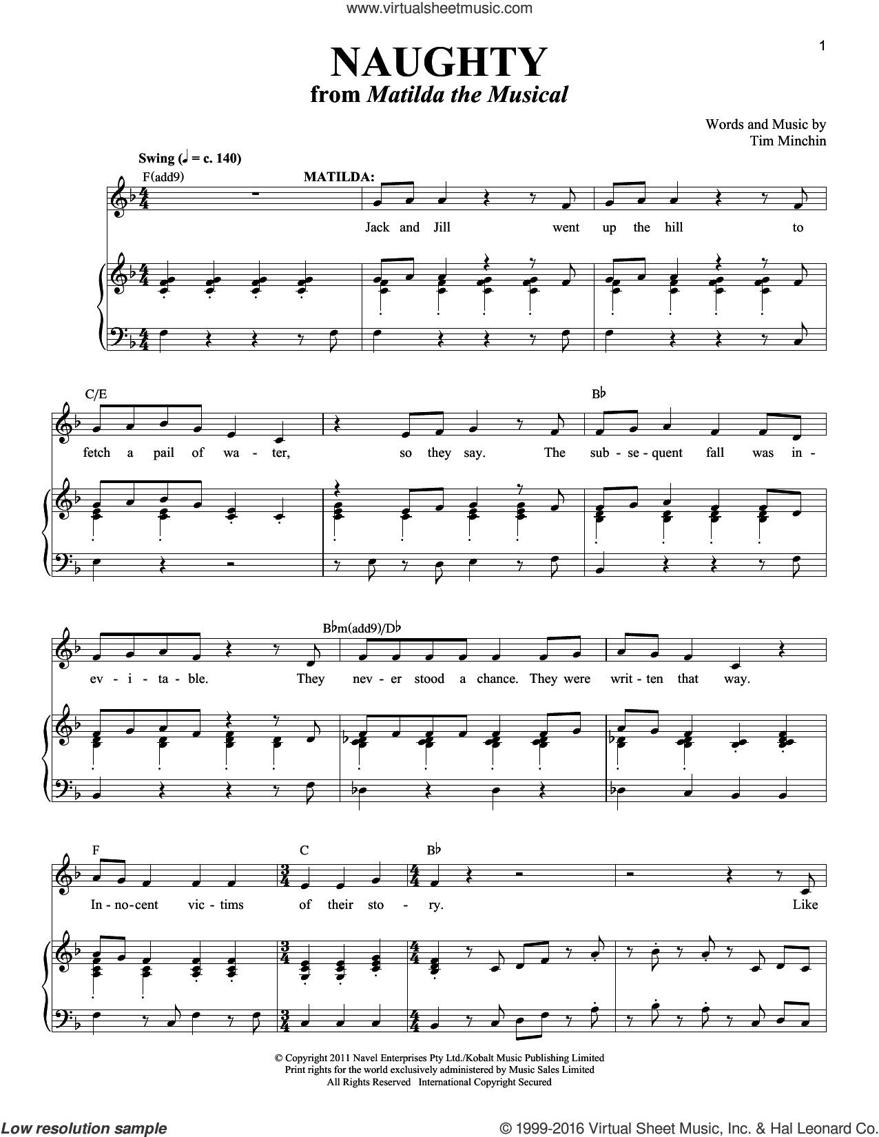 Naughty sheet music for voice and piano by Tim Minchin. Score Image Preview.