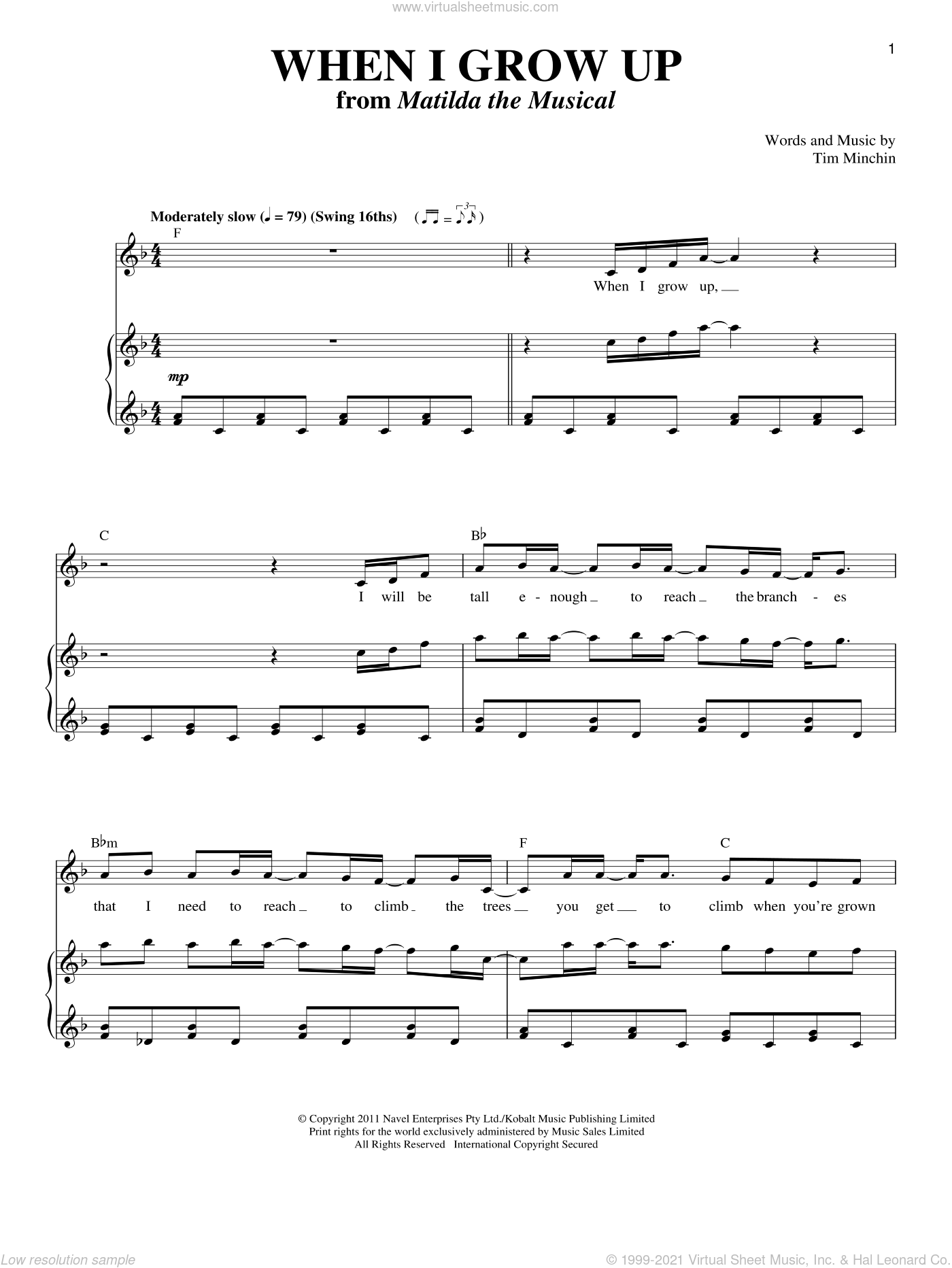 When I Grow Up sheet music for voice and piano by Tim Minchin, intermediate