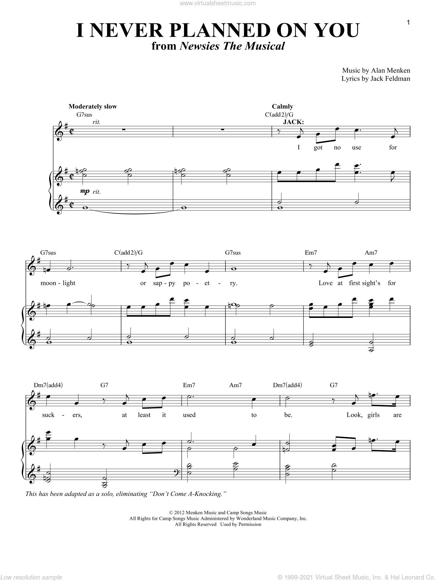 I Never Planned On You/Don't Come A-Knocking sheet music for voice and piano by Jack Feldman and Alan Menken. Score Image Preview.