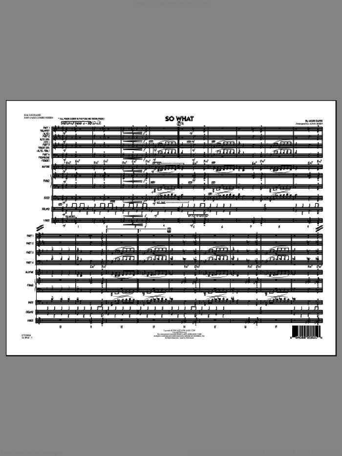 So What (COMPLETE) sheet music for jazz band by Miles Davis and John Berry, intermediate