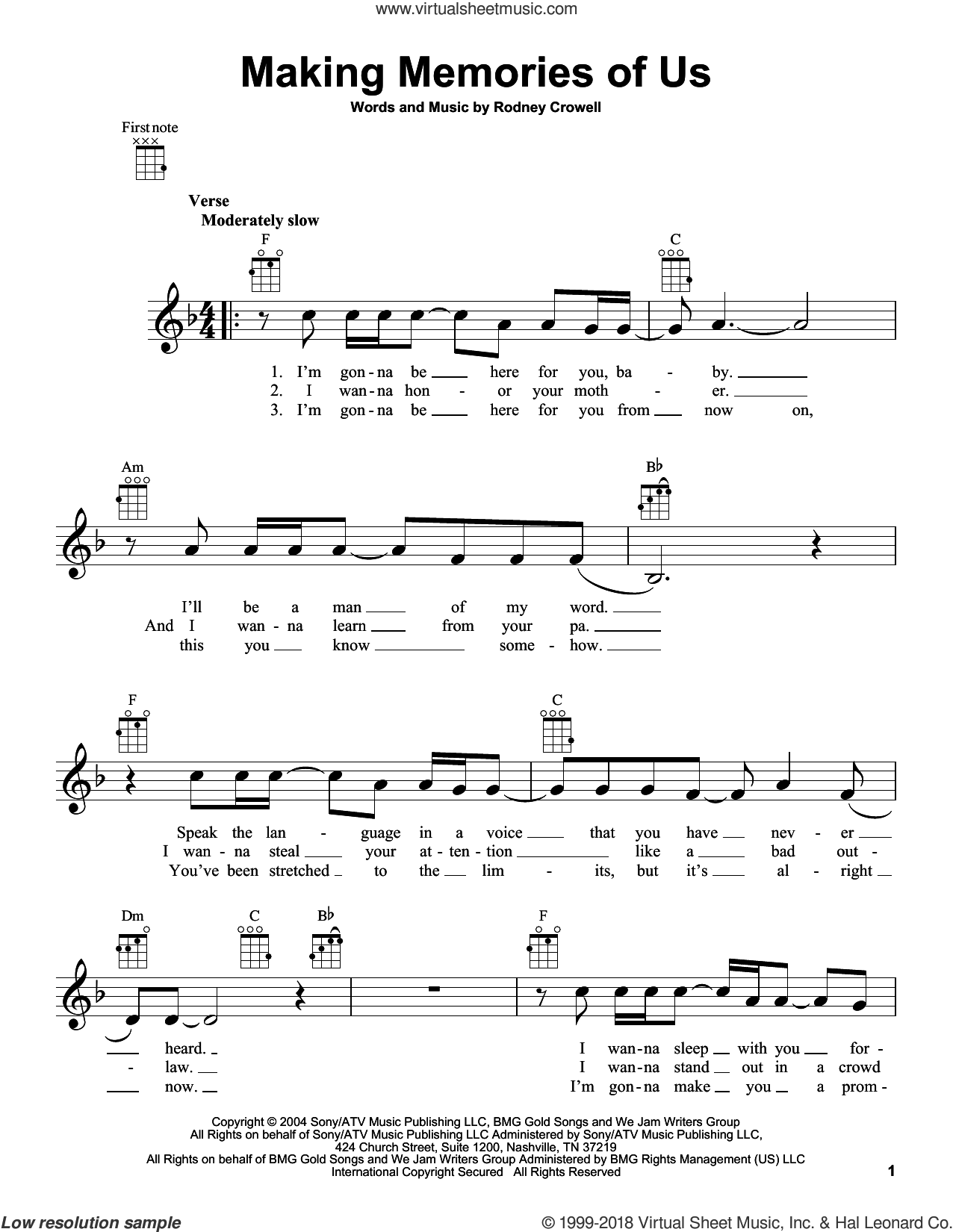 Making Memories Of Us sheet music for ukulele by Keith Urban and Rodney Crowell, intermediate. Score Image Preview.
