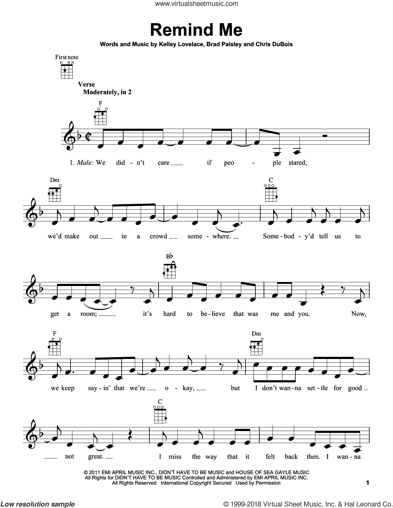 Remind Me sheet music for ukulele by Kelley Lovelace, Brad Paisley and Chris DuBois. Score Image Preview.