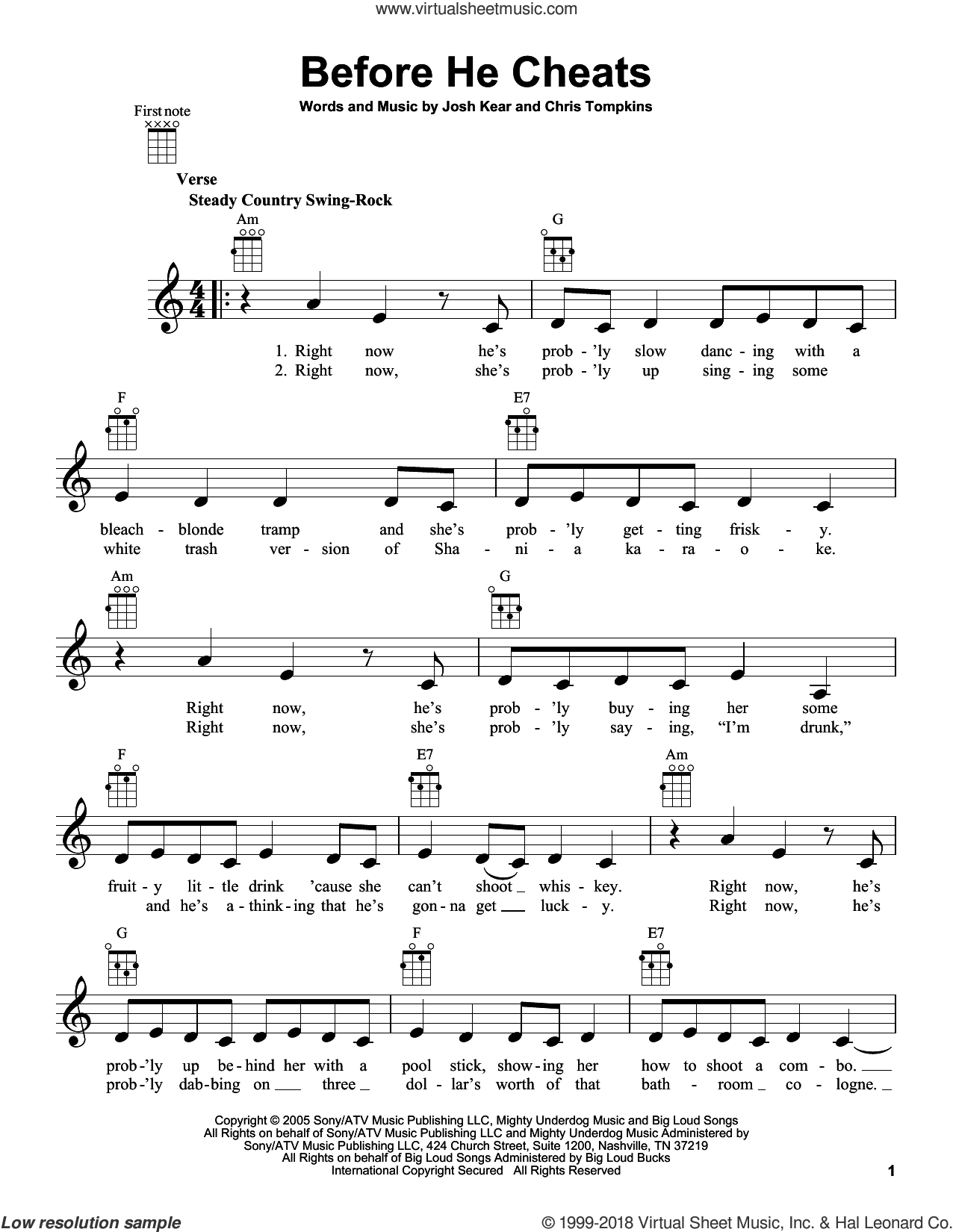 Before He Cheats sheet music for ukulele by Carrie Underwood, Chris Tompkins and Josh Kear, intermediate ukulele. Score Image Preview.