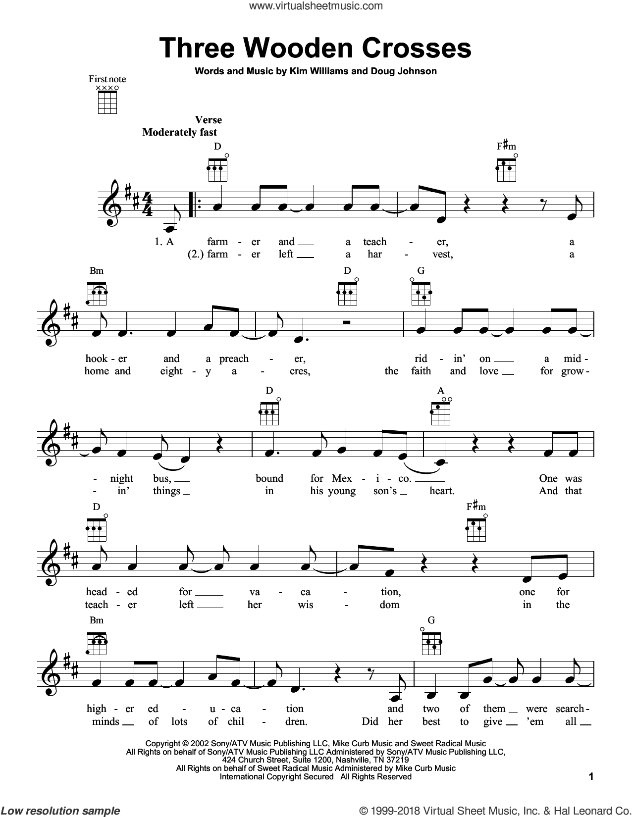 Three Wooden Crosses sheet music for ukulele by Randy Travis, Doug Johnson and Kim Williams, intermediate skill level