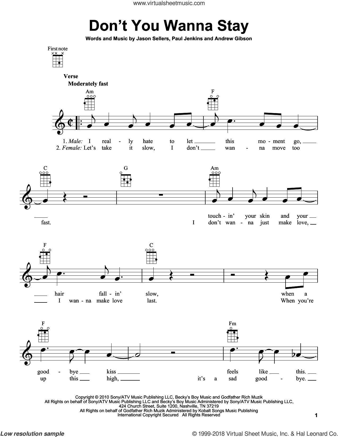 Don't You Wanna Stay sheet music for ukulele by Jason Aldean with Kelly Clarkson, Andrew Gibson, Jason Sellers and Paul Jenkins, intermediate skill level