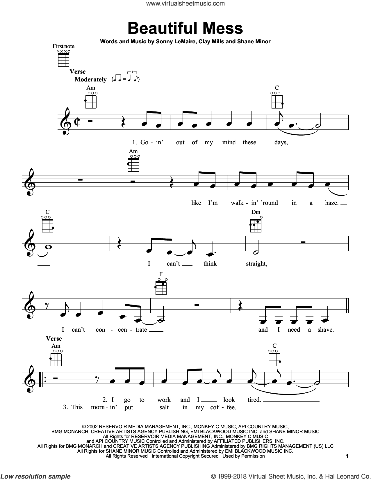 Beautiful Mess sheet music for ukulele by Diamond Rio, Clay Mills, Shane Minor and Sonny LeMaire, intermediate skill level