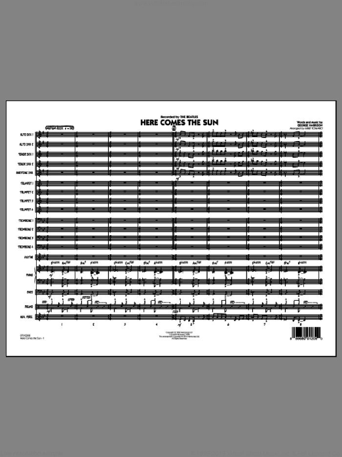 Here Comes the Sun (COMPLETE) sheet music for jazz band by The Beatles, George Harrison and Mike Tomaro, intermediate skill level