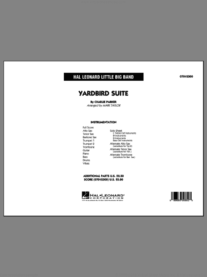 Yardbird Suite (COMPLETE) sheet music for jazz band by Charlie Parker and Mark Taylor, intermediate skill level