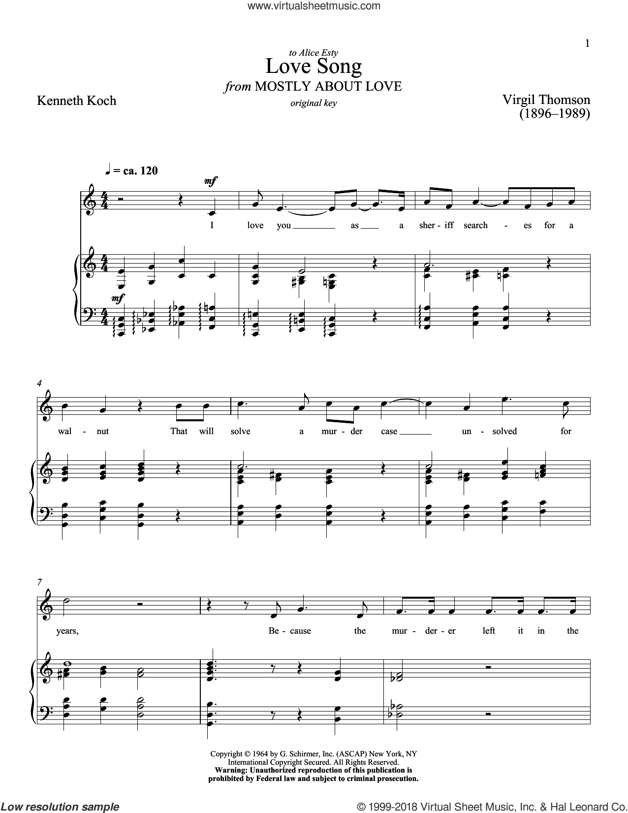 Love Song sheet music for voice and piano (High Voice) by Kenneth Koch, Richard Walters and Virgil Thomson, classical score, intermediate skill level