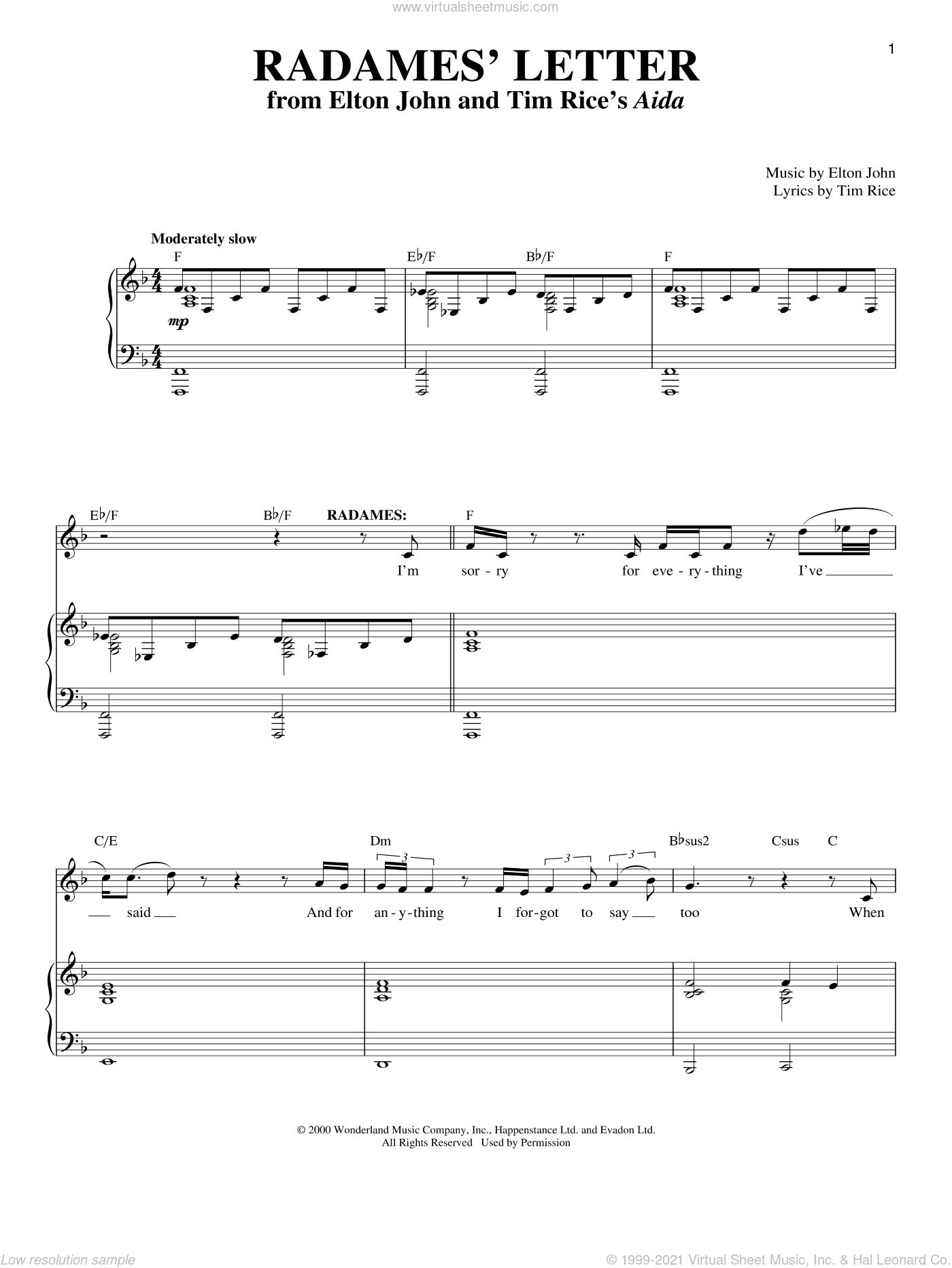 Radames' Letter sheet music for voice and piano by Elton John and Tim Rice, intermediate. Score Image Preview.