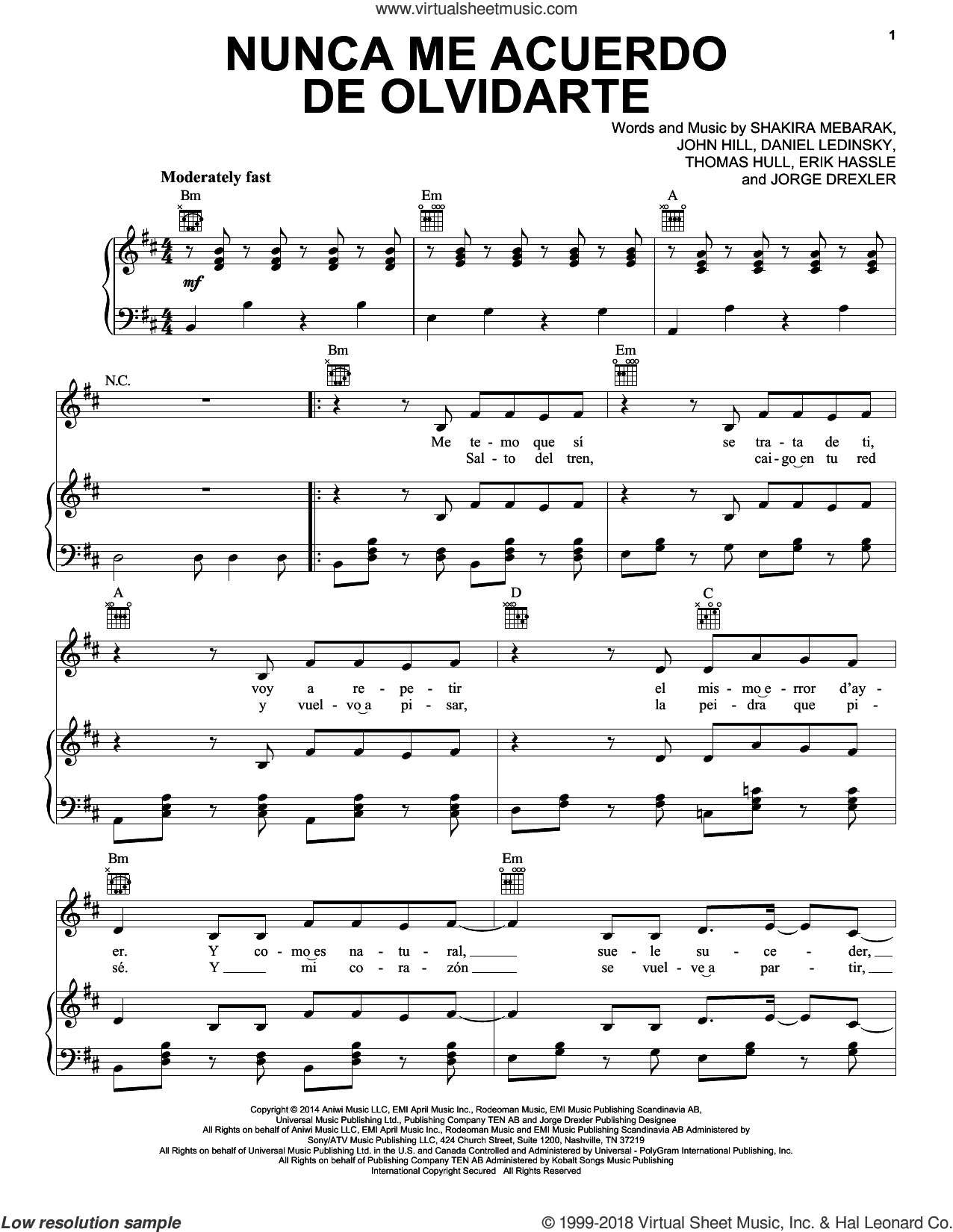 Nunca Me Acuerdo De Olvidarte sheet music for voice, piano or guitar by Tom Hull, Shakira, John Hill, Jorge Drexler and Shakira Mebarak. Score Image Preview.