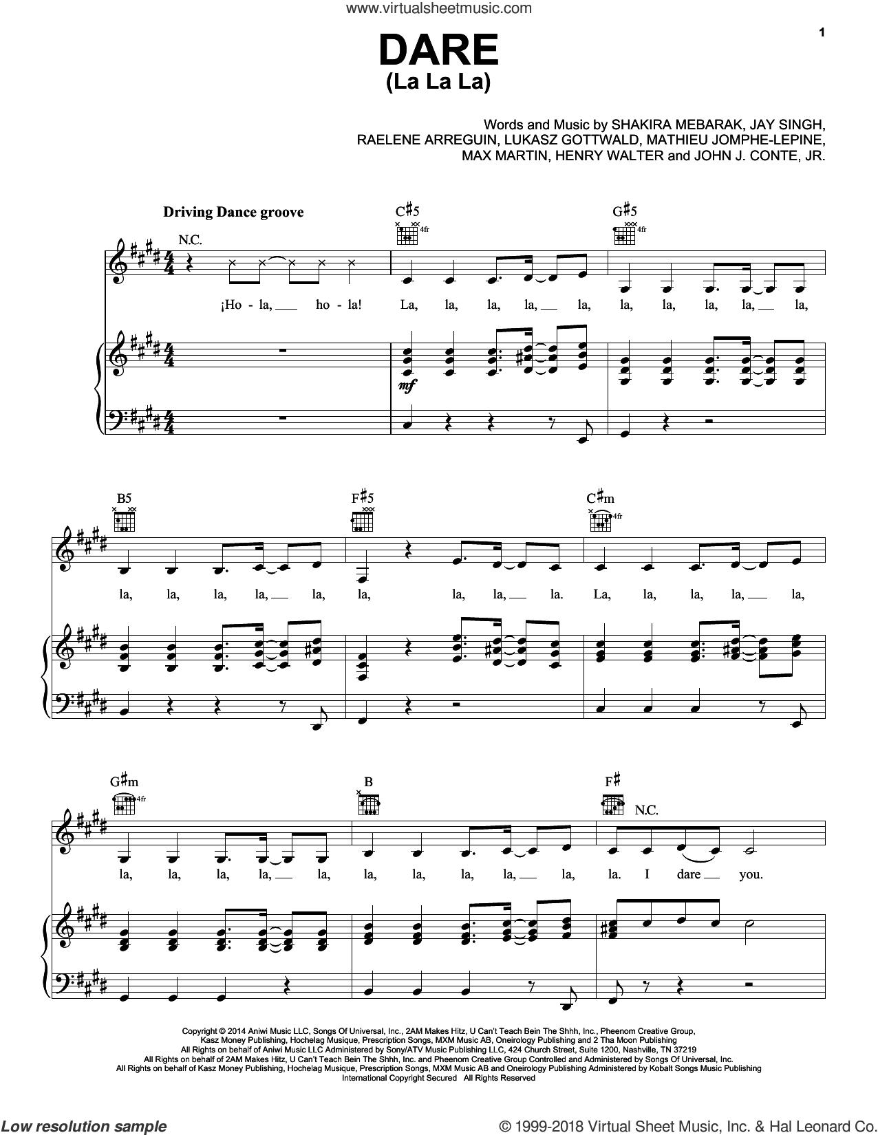 Dare (La La La) sheet music for voice, piano or guitar by Shakira, Henry Walter, Jay Singh, John J. Conte, Jr., Lukasz Gottwald, Mathieu Jomphe-Lepine, Max Martin, Raelene Arreguin and Shakira Mebarak, intermediate skill level