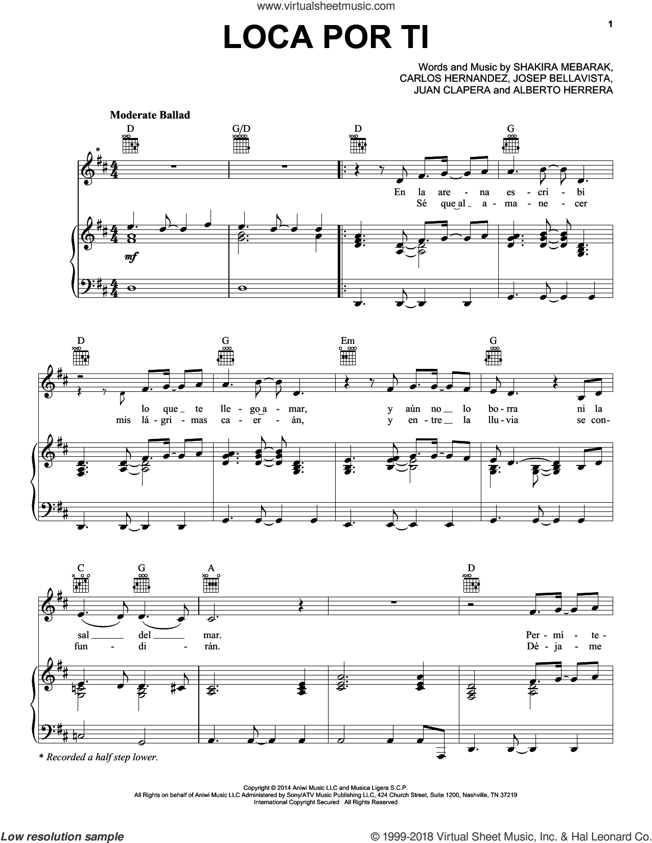 Loca Por Ti sheet music for voice, piano or guitar by Shakira, Alberto Herrera, Carlos Hernandez, Josep Bellavista, Juan Clapera and Shakira Mebarak, intermediate skill level