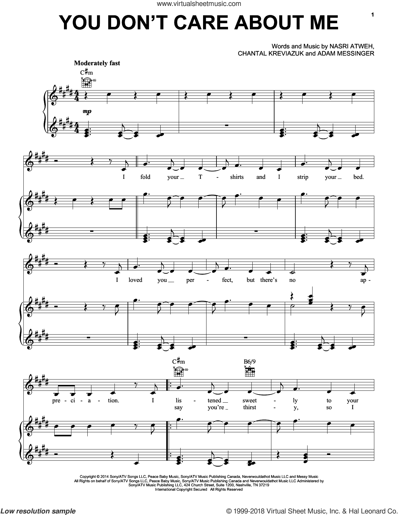 You Don't Care About Me sheet music for voice, piano or guitar by Nasri Atweh, Shakira, Adam Messinger and Chantal Kreviazuk. Score Image Preview.