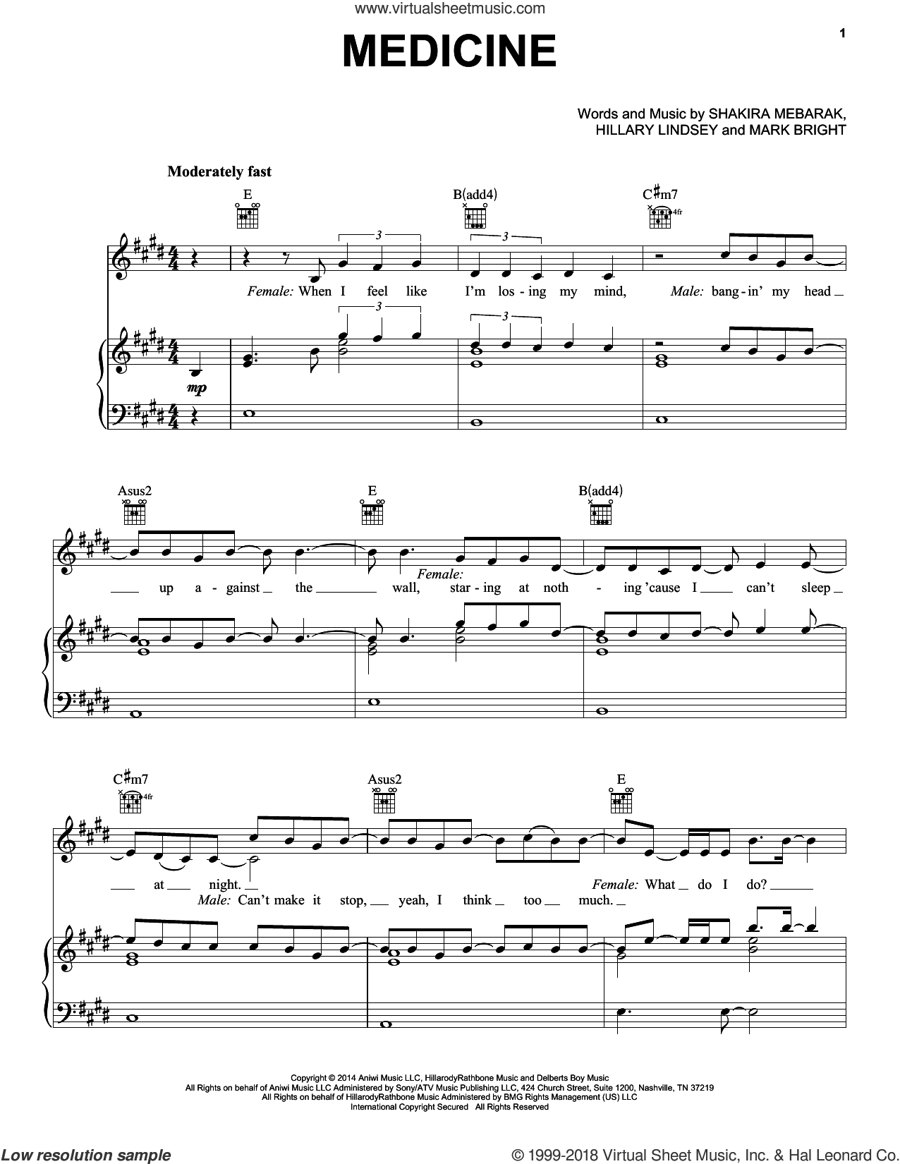 Medicine sheet music for voice, piano or guitar by Shakira, Hillary Lindsey, Mark Bright and Shakira Mebarak, intermediate