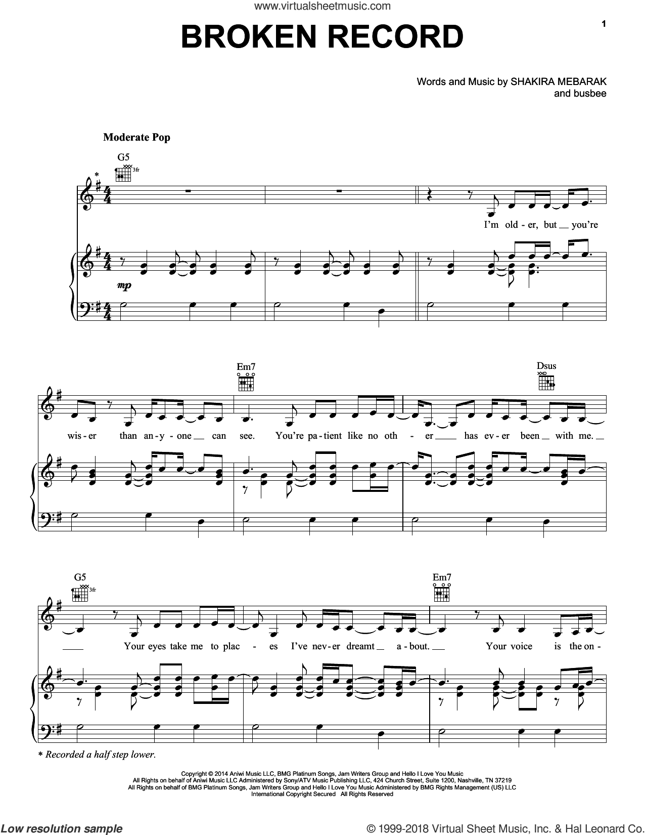 Broken Record sheet music for voice, piano or guitar by Shakira Mebarak, Shakira and busbee. Score Image Preview.