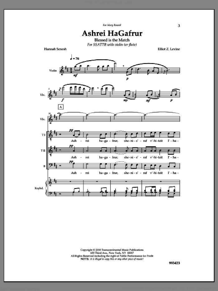 Ashrei Hagafrur sheet music for choir and piano by Elliot Z. Levine. Score Image Preview.
