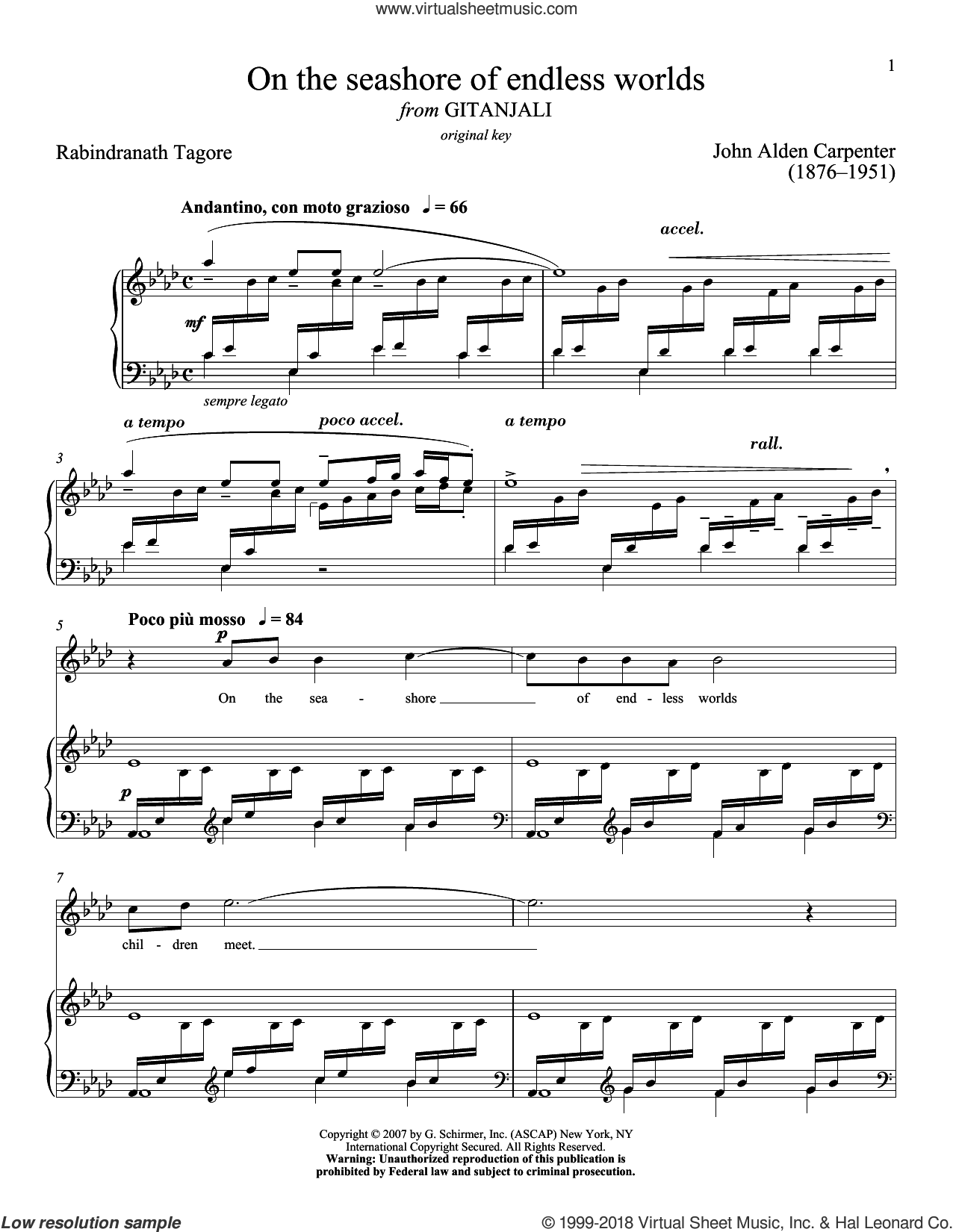 On The Seashore Of Endless Worlds sheet music for voice and piano (High Voice) by Rabindranath Tagore, Richard Walters and John Alden Carpenter, classical score, intermediate skill level