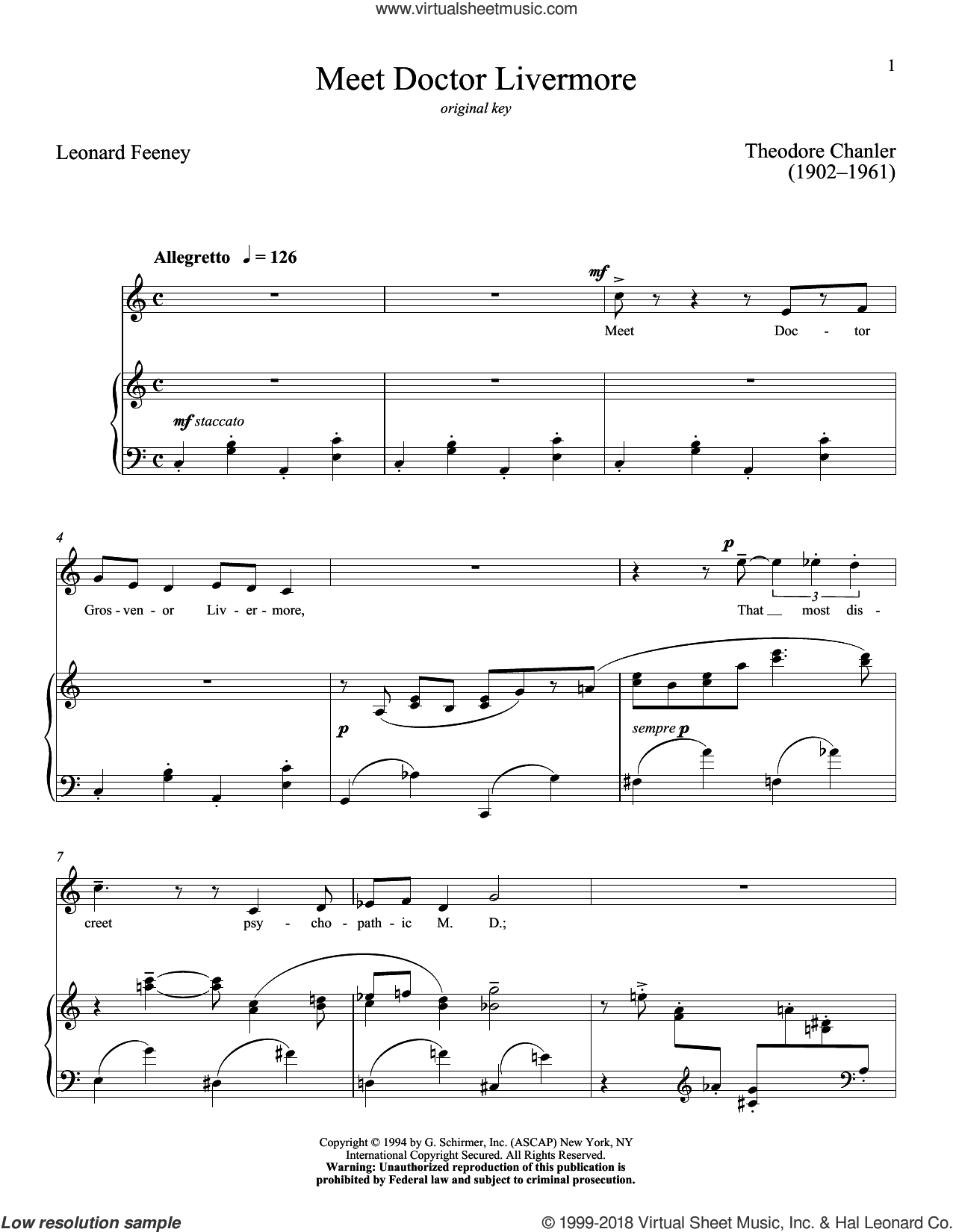 Meet Doctor Livermore sheet music for voice and piano (High ) by Theodore Chanler and Richard Walters. Score Image Preview.