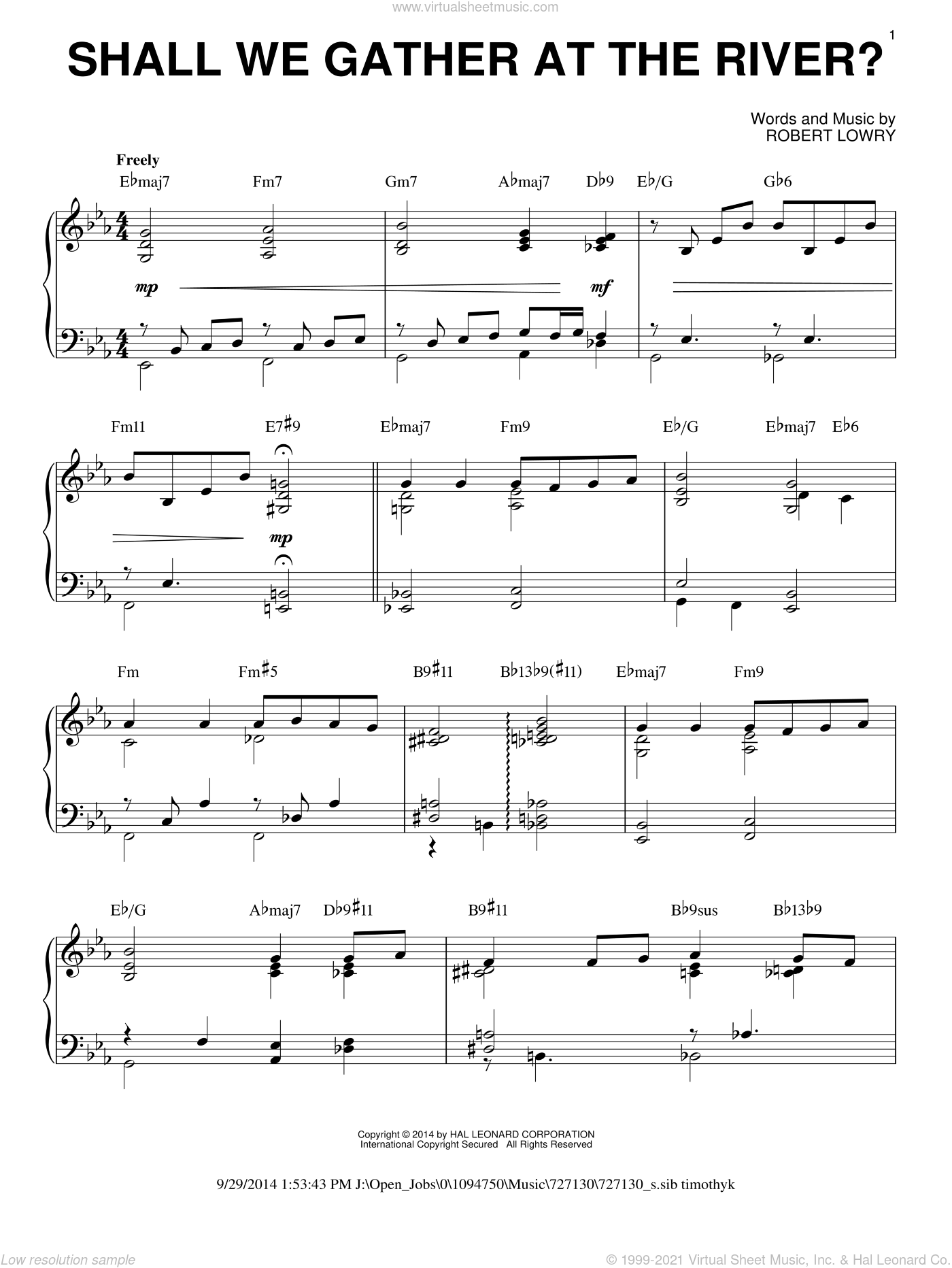 Shall We Gather At The River?, (intermediate) sheet music for piano solo by Robert Lowry, intermediate skill level