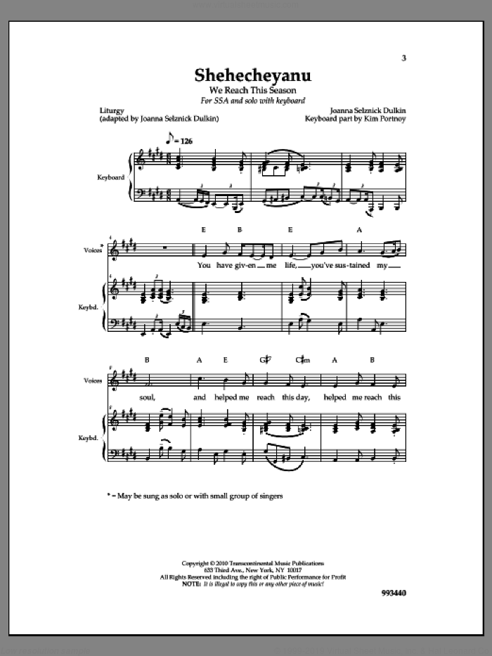 Shehecheyanu sheet music for choir and piano by Joanna Sulznick Dulkin. Score Image Preview.