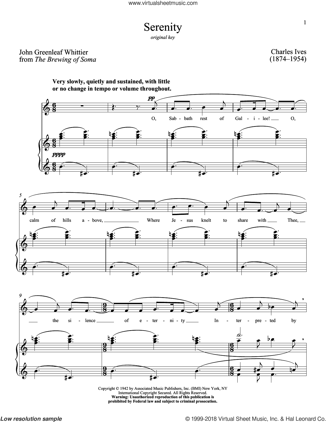 Serenity sheet music for voice and piano (High Voice) by Richard Walters, Charles Ives and John Greenleaf Whittier, classical score, intermediate