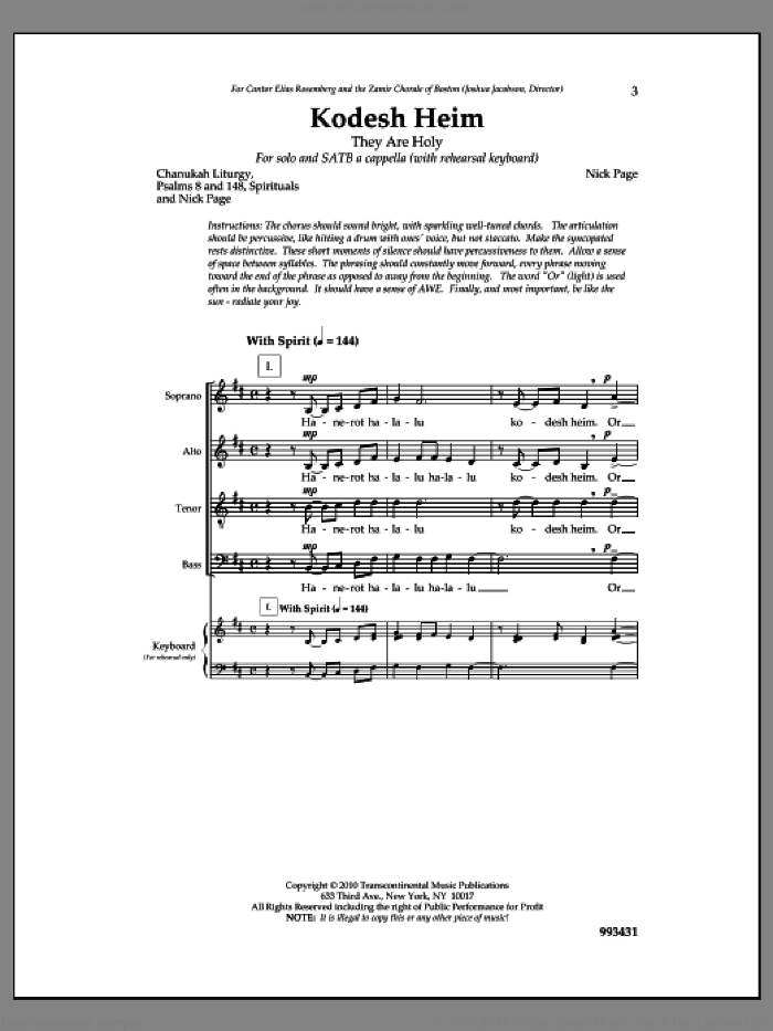 Kodesh Heim sheet music for choir by Nick Page, intermediate skill level