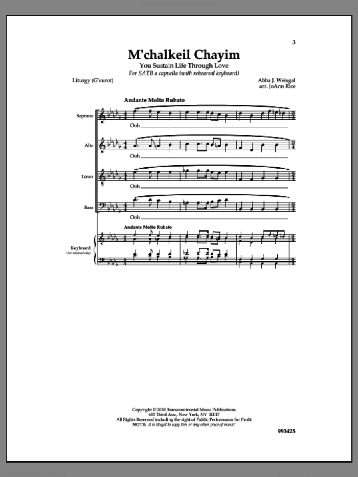 M'chalkeil Chayim sheet music for choir by Abba J. Weisgall and Jo Ann Rice, intermediate
