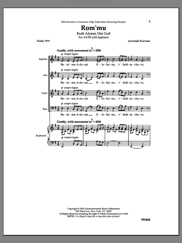 Rom'mu sheet music for choir and piano by Jeremiah Klarman. Score Image Preview.