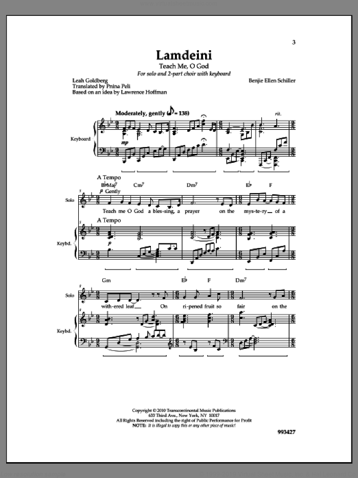 Lamdeini sheet music for choir by Benjie Ellen Schiller. Score Image Preview.