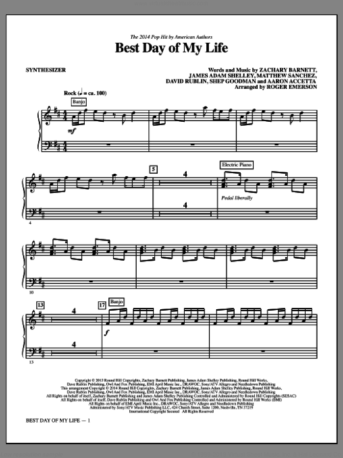 Best Day of My Life (complete set of parts) sheet music for orchestra/band by Roger Emerson, Aaron Accetta, American Authors, David Rublin, James Adam Shelley, Matthew Sanchez, Shep Goodman and Zachary Barnett, intermediate skill level