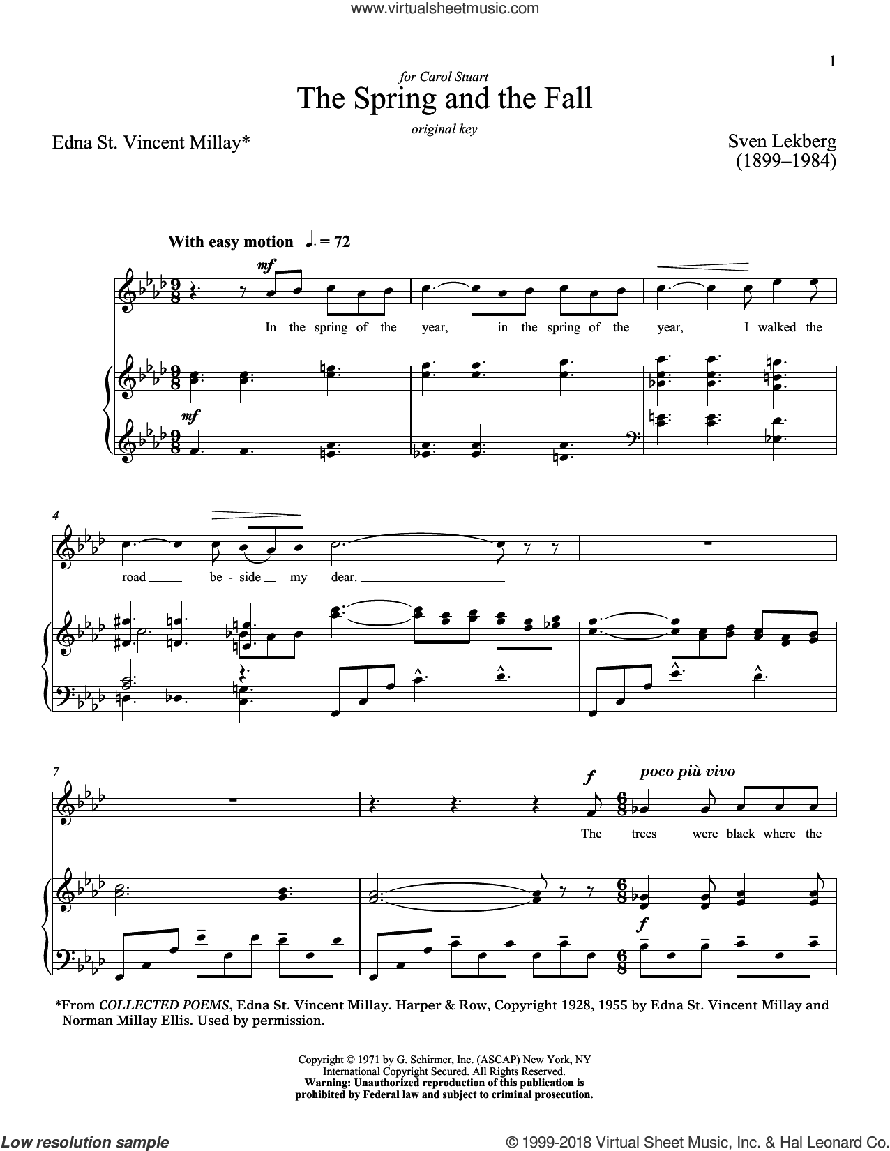 The Spring And The Fall sheet music for voice and piano (High Voice) by Richard Walters, Edna St. Vincent Millay and Sven Lekberg, classical score, intermediate skill level