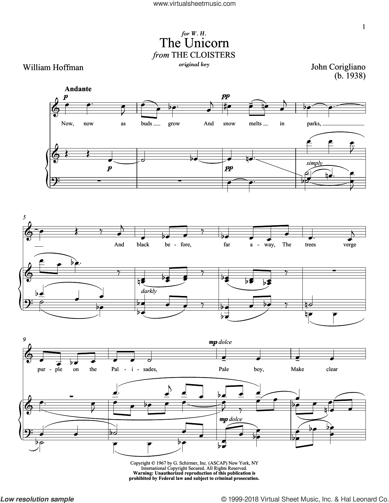 The Unicorn sheet music for voice and piano (High Voice) by John Corigliano, Richard Walters and William Hoffman, classical score, intermediate skill level