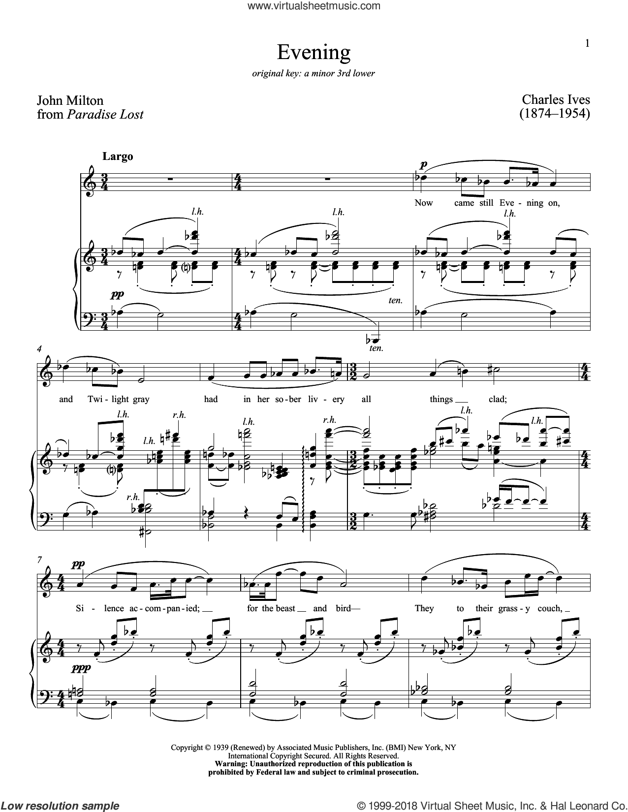 Evening sheet music for voice and piano (High ) by John Milton, Charles Ives and Richard Walters, classical score, intermediate. Score Image Preview.