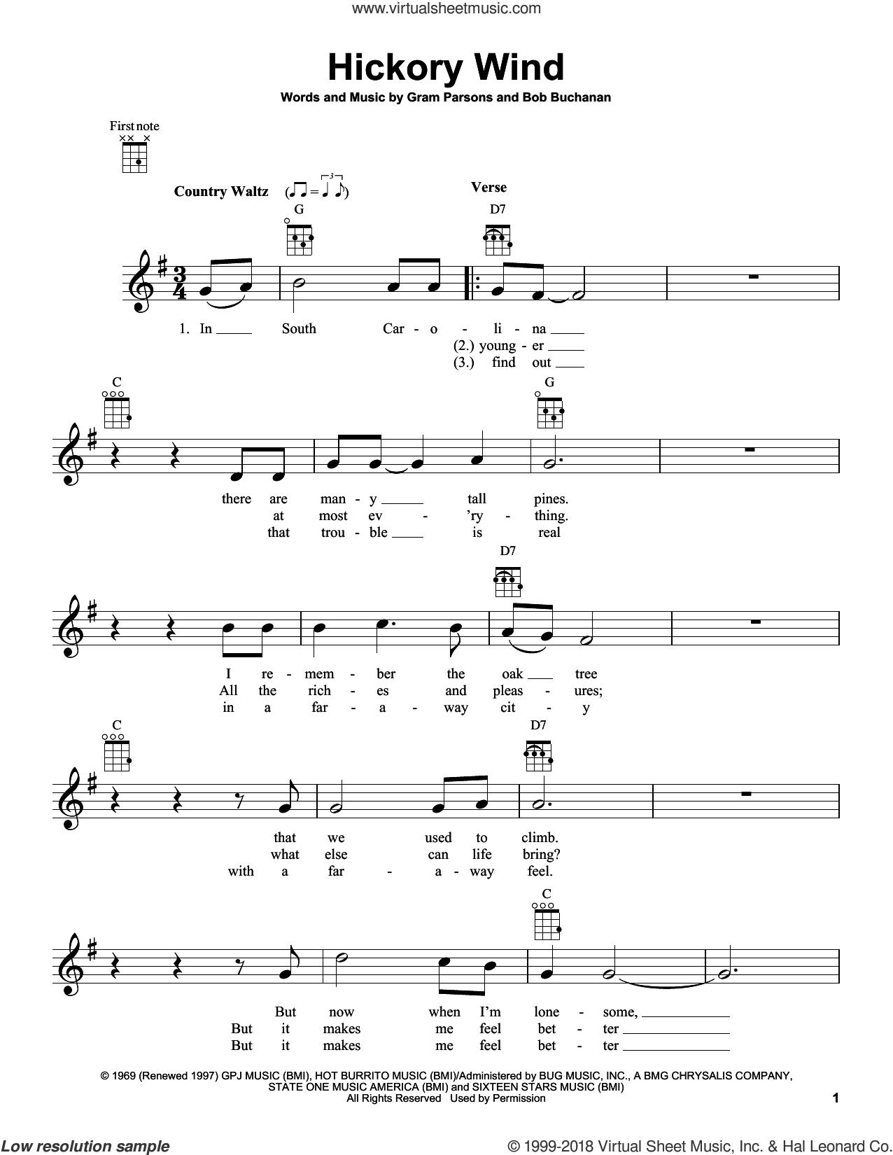 Parsons   Hickory Wind sheet music for ukulele [PDF interactive]