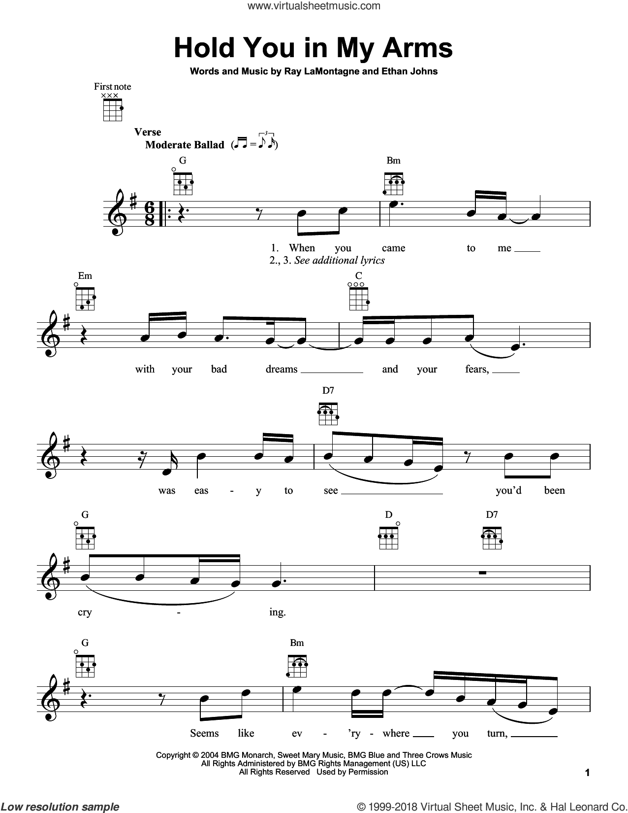 Hold You In My Arms sheet music for ukulele by Ray LaMontagne, intermediate. Score Image Preview.