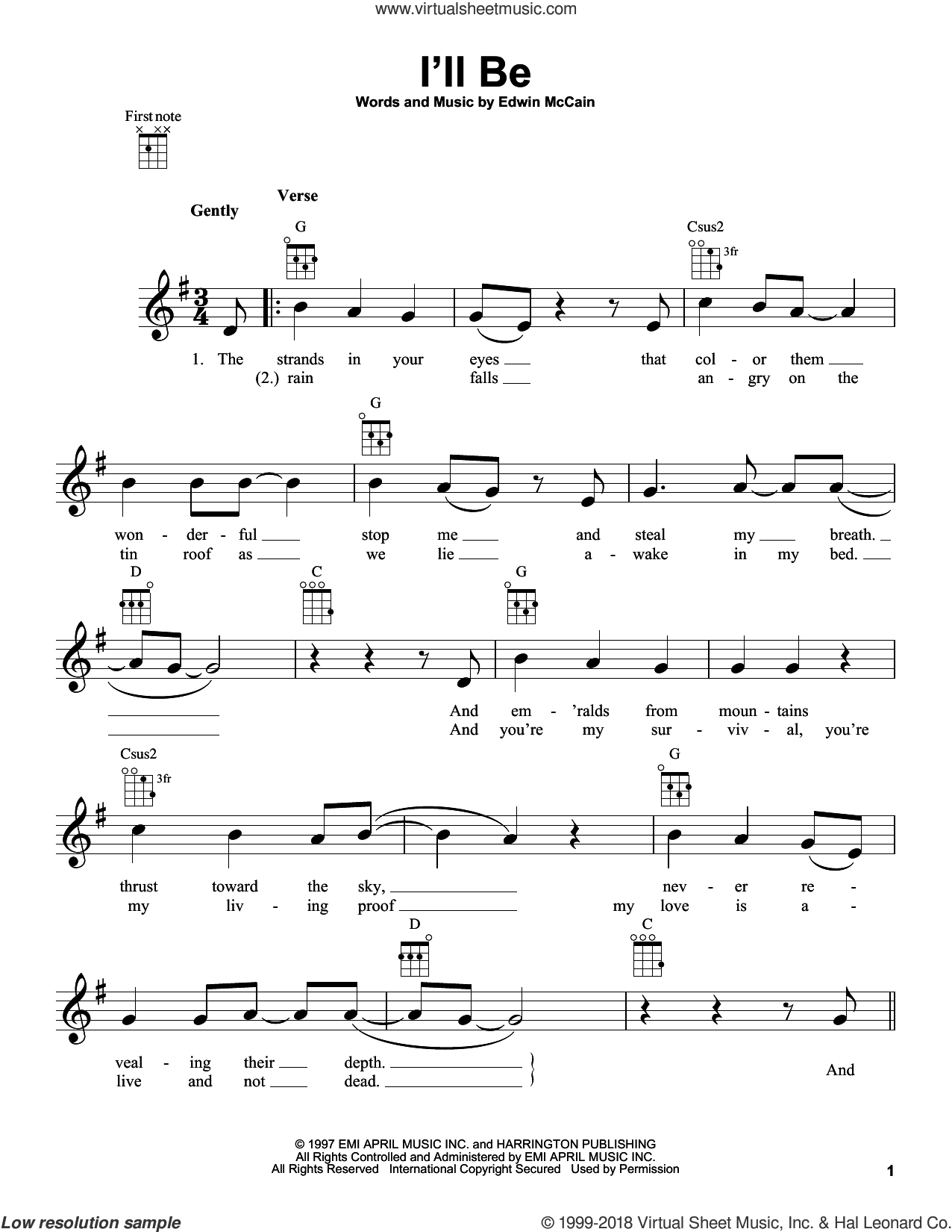 I'll Be sheet music for ukulele by Edwin McCain. Score Image Preview.