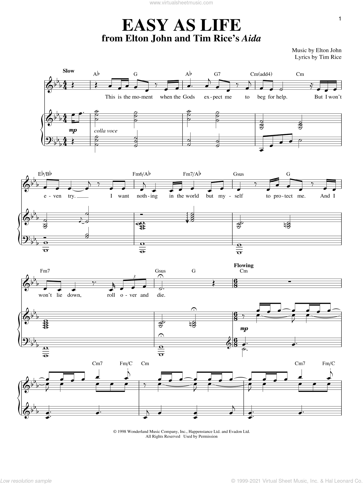 Easy As Life sheet music for voice and piano by Elton John and Tim Rice, intermediate