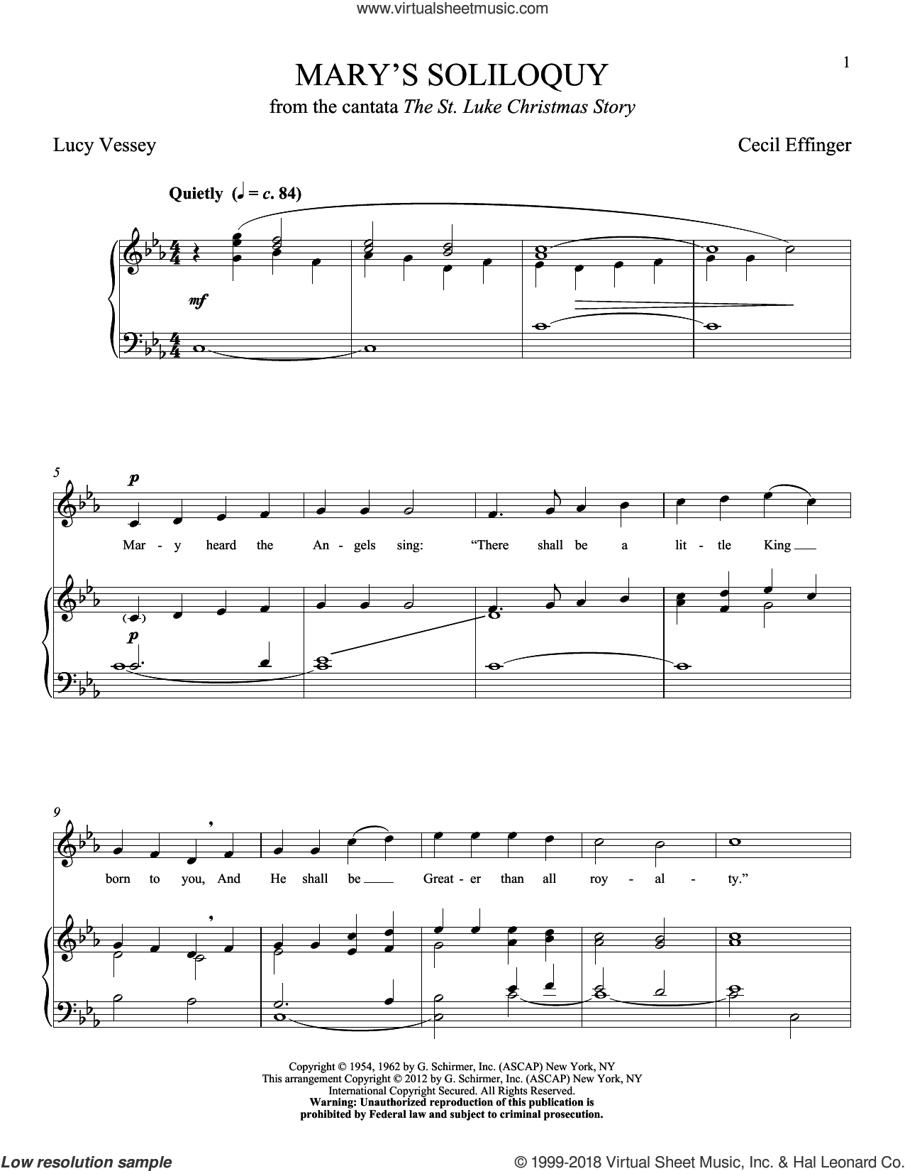 Mary's Soliloquy sheet music for voice and piano (High ) by Cecil Effinger. Score Image Preview.